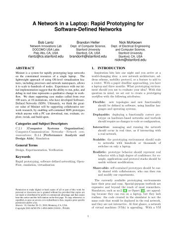Rapid Prototyping for Software-Defined Networks - High ...