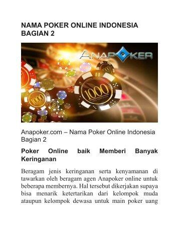 NAMA POKER ONLINE INDONESIA BAGIAN 2