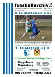 Programmheft 2017-18 30. Spieltag 1. FC Magdeburg II - TSV Kleinmühlingen/Zens