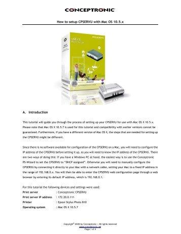 Conceptronic C54PSERVU Print Server Driver for Windows Download