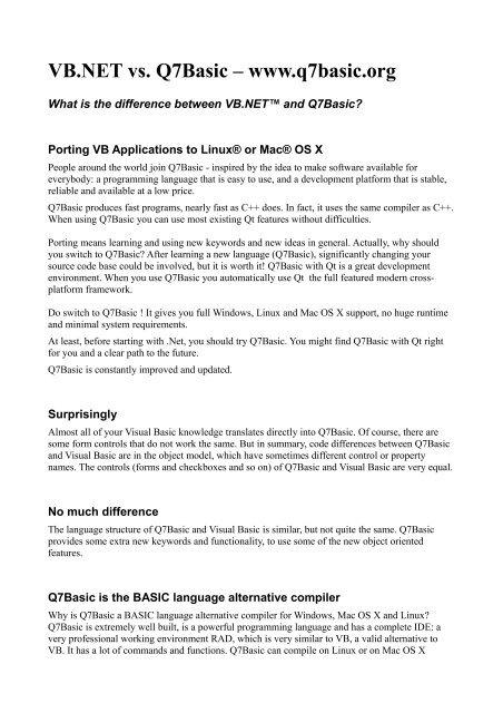 VB NET vs  Q7Basic – www q7basic org - Basic For Qt