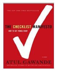 PDF Download Checklist Manifesto Full Online