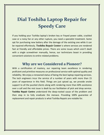 Dial Toshiba Laptop Repair for Speedy Care
