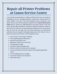 Repair all Printer Problems at Canon Service Centre