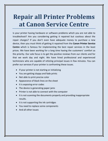 Repair all Printer Problems at Canon Service Centre