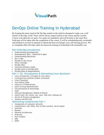 DevOps Course Content by Visualpath Training Institute in Hyderabad