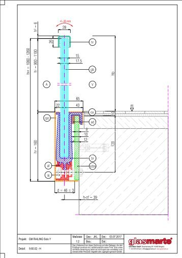 GM RAILING SOLO Y 16 - Detailzeichnung