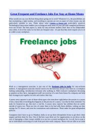 Great Frequent and Freelance Jobs For Stay at Home Moms