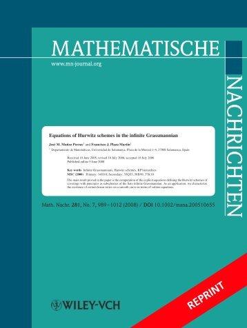 MATHEMATISCHE NACHRICHTEN - Universidad de Salamanca