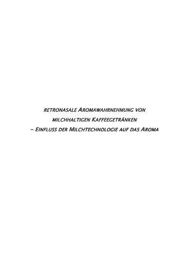 Retronasale Aromawahrnehmung von milchhaltigen - Chemie ...