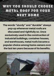 Why You Should Choose Metal Roof for your Next Home