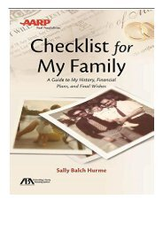 eBook Aba AARP Checklist for My Family A Guide to My History Financial Plans and Final Wishes Free online