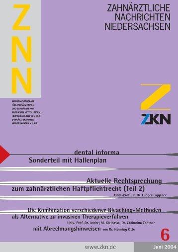 zahnärztliche nachrichten niedersachsen - Zahnärztekammer ...