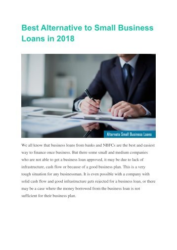 Best Alternative to Small Business Loans in 2018