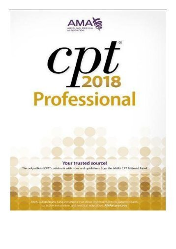 eBook CPT R 2018 Professional Edition Cpt Current Procedural Terminology Professional Edition  Free