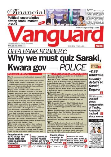 04062018 - OFFA BANK ROBBERY: Why we must quiz Saraki kwara gov - POLICE