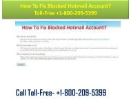 +1-800-209-5399 How To Fix Blocked Hotmail Account?