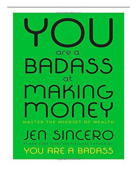 Pdf Download You Are A Badass At Making Money Master The Mindset Of