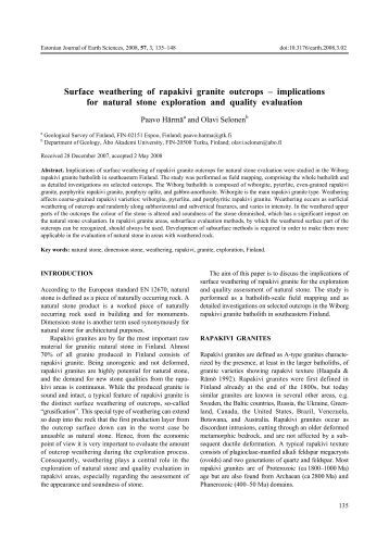 Surface weathering of rapakivi granite outcrops œ implications for ...