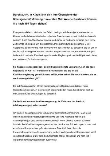 Positive Bilanz - Das Fürstenhaus von Liechtenstein