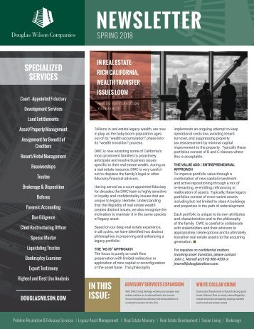 Douglas Wilson Companies Spring 2018 Newsletter