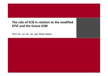 The role of ECB in relation to the modified EFSF and the future ESM