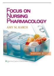 eBook Focus on Nursing Pharmacology Free books
