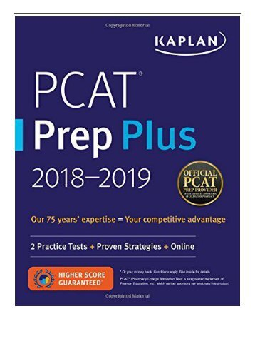 eBook PCAT Prep Plus 2018-2019 2 Practice Tests + Proven Strategies + Online Kaplan Test Prep Free online