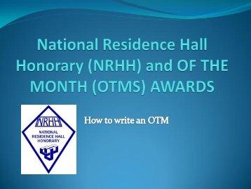 OF THE MONTH AWARDS (OTMS) - University Housing & Dining ...