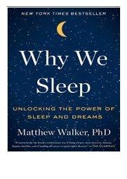 eBook Why We Sleep Unlocking the Power of Sleep and Dreams Free eBook