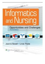 [PDF] Informatics and Nursing Opportunities and Challenges Full Ebook