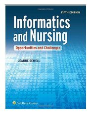 [PDF] Informatics and Nursing Opportunities and Challenges Full ePub