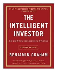[PDF] Intelligent Investor The Definitive Book on Value Investing - A Book of Practical Counsel Full