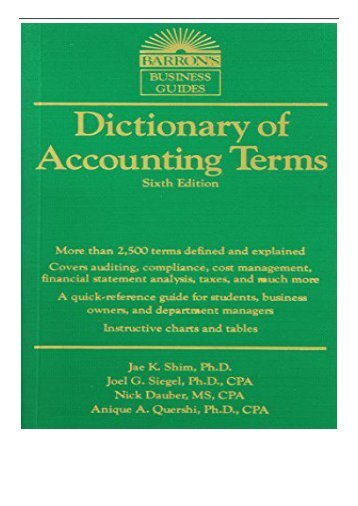 PDF Download Dictionary of Accounting Terms 6th Ed Barron's Business Dictionaries  Barron's Business