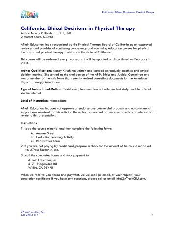 Ethical Problems in Physical Therapy