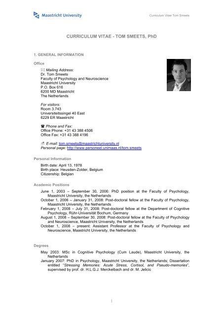 Curriculum Vitae Tom Smeets Phd Maastricht University