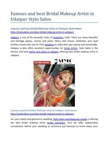 Famous and best Bridal Makeup Artist in Udaipur Stylo Salon