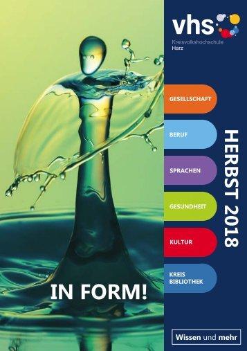Kursprogramm für das Herbstsemester 2018 - Kreisvolkshochschule Harz
