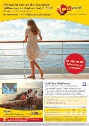 BILLA Reisen Kreuzfahrten-Angebote Postwurf KW23