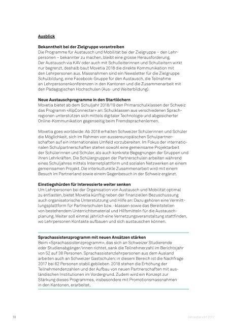 Jahresbericht Movetia 2017