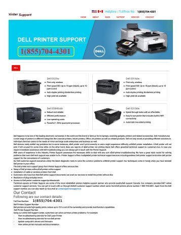 Dell Printer Support Phone Number+1(855)704-4301