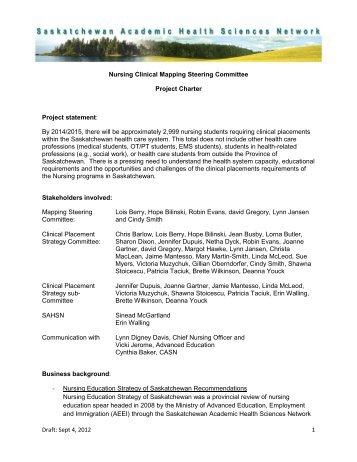 Project Charter - Saskatchewan Academic Health Sciences Network ...