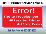 1-800-597-1052 How to Fix HP Printer Service Error 49?