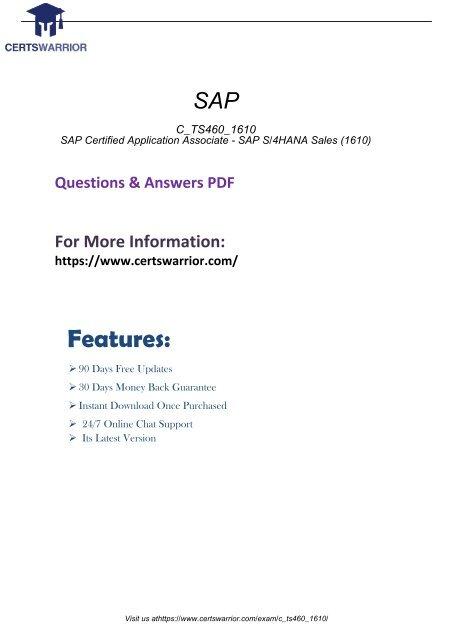 C_TS460_1610 Exam Practice Software 2018