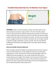 ToneSlim helps You To Maintains your Metabolic rates