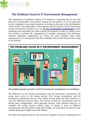 The Problems Faced in IT Environment Management