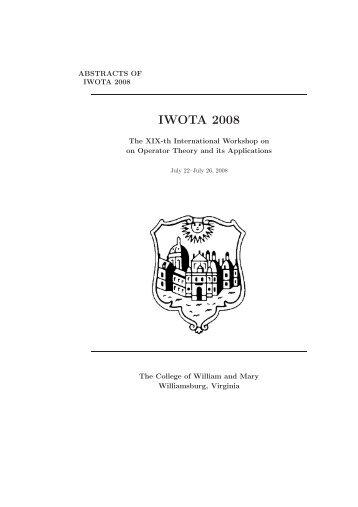 IWOTA 2008 - Mathematics - College of William and Mary