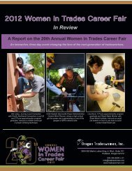 2012 Women in Trades Career Fair - Oregon Tradeswomen, Inc.!