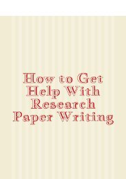 How to Get Help With Research Paper Writing