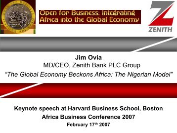 "Jim Ovia MD/CEO, Zenith Bank PLC Group ""The ... - to Zenith Bank"